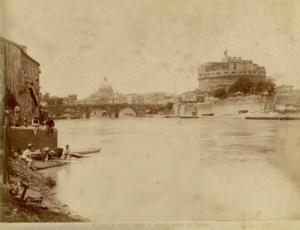 Eugenio ChauffourierVeduta di Castel Sant'Angelo con San Pietro sullo sfondo albumina 1875, cm. 19.9 x 26