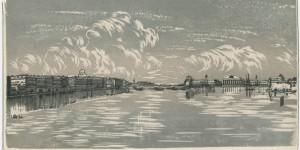 Immagine: Anna Ostroumova Lebedeva (1871-1955), View on the Neva River and the Stock Exchange Building from the Trinity Bridge (1926), via WikiArt.
