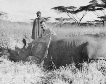 "1933 Ernest Heminway in Africa hunting buffalo. Please credit ""Ernest Hemingway Collection/John F. Kennedy Presidential Library and Museum, Boston"""